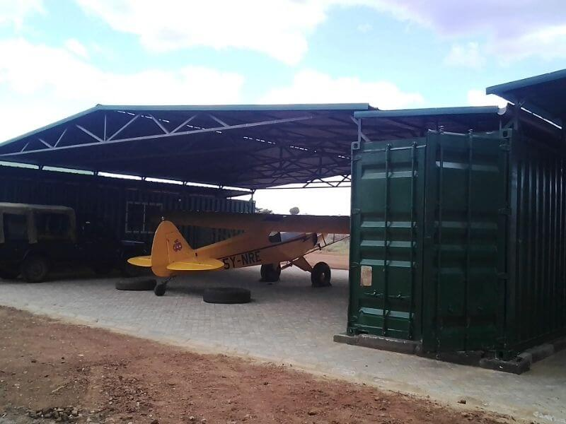 Aircraft Hangar with adjacent Container storage and office